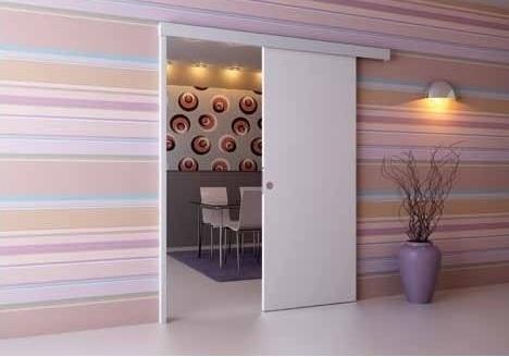 דלתות הזזה נעות על קיר