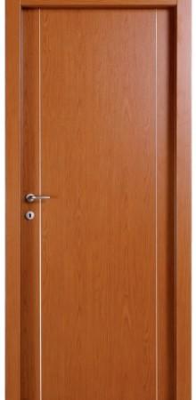 דלת למינטו (פורמייקה) בגוון אלון בהיר בתוספת 2 פסי אורך ניקל
