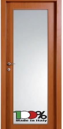 דלת למינטו (פורמייקה) בגוון אלון בהיר בתוספת זכוכית טיבולי