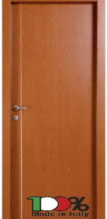 דלת למינטו (פורמייקה) בגוון אלון בהיר בתוספת פס אורך ניקל