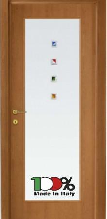 דלת למינטו (פורמייקה) בגוון טנגניקה בתוספת זכוכית טיבולי עם התזת חול