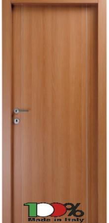 דלת למינטו (פורמייקה) בגוון טנגניקה בתוספת 2 פסי אורך ניקל