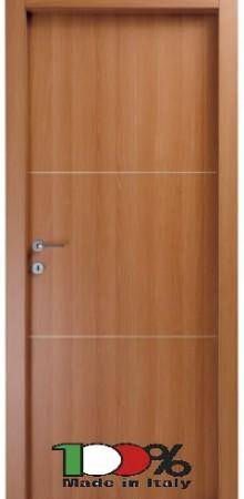 דלת למינטו (פורמייקה) בגוון טנגניקה בתוספת 2 פסי רוחב ניקל