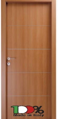 דלת למינטו (פורמייקה) בגוון טנגניקה בתוספת 4 פסי רוחב ניקל
