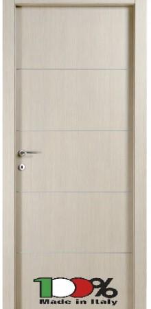 דלת למינטו (פורמייקה) בגוון קונציגיליה בתוספת 4 פסי רוחב ניקל