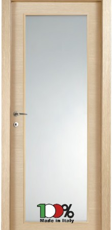 דלת למינטו (פורמייקה) בגוון אלון מולבן בתוספת זכוכית טיבולי