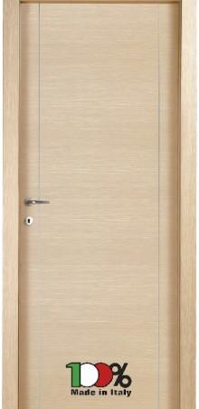 דלת למינטו (פורמייקה) בגוון אלון מולבן בתוספת 2 פסי אורך ניקל
