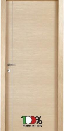 דלת למינטו (פורמייקה) בגוון אלון מולבן בתוספת פס אורך ניקל