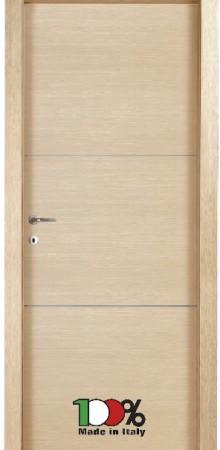 דלת למינטו (פורמייקה) בגוון אלון מולבן בתוספת 2 פסי רוחב ניקל