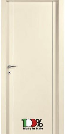 דלת למינטו (פורמייקה) בגוון שמנת בתוספת 2 פסי אורך ניקל