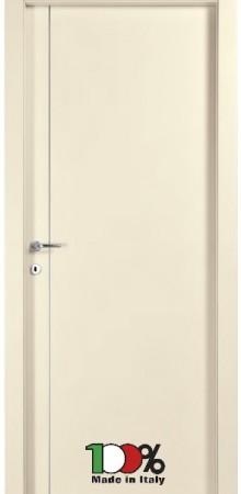 דלת למינטו (פורמייקה) בגוון שמנת בתוספת פס אורך ניקל
