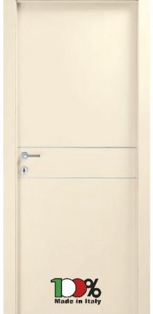 דלת למינטו (פורמייקה) בגוון שמנת בתוספת 2 פסי רוחב ניקל