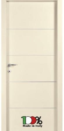 דלת למינטו (פורמייקה) בגוון שמנת בתוספת 4 פסי רוחב ניקל