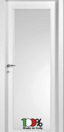 דלת למינטו (פורמייקה) בגוון לבן בתוספת זכוכית טיבולי