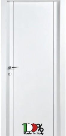 דלת למינטו (פורמייקה) בגוון לבן בתוספת 2 פסי אורך ניקל