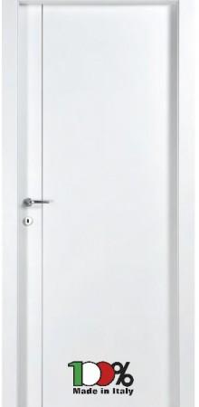 דלת למינטו (פורמייקה) בגוון לבן בתוספת פס אורך ניקל