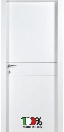 דלת למינטו (פורמייקה) בגוון לבן בתוספת 2 פסי רוחב ניקל