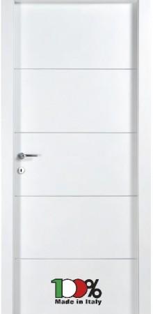 דלת למינטו (פורמייקה) בגוון לבן בתוספת 4 פסי רוחב ניקל